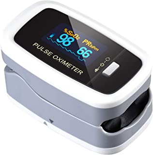 Pulse Oximeter Fingertip, ATMOKO Pulse Oximeter Finger Oximetry SPO2 Blood Oxygen Saturation Monitor Heart Rate Monitor Rotatable OLED Digital Display Portable with Batteries and Lanyard