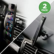 2-for-1 Magnetic Phone Holder for Car - 2-Pack, Mount Phone or GPS to Dashboard or Air Vent, Extra-Strong Magnets, Fits iPhone X 8 7 6 5 Samsung Galaxy S8 S7 S6, LG V30 HTC One, Nokia Phones & More