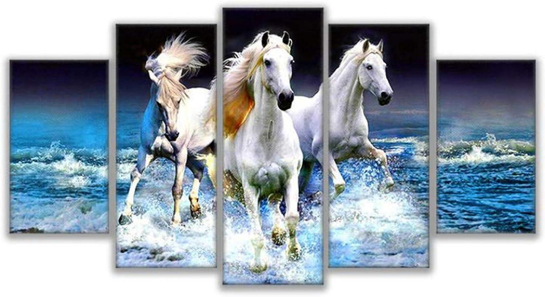 ofreciendo 100% Giow Lienzo de Pintura de la la la Sala de EEstrella de la Parojo Marcos del Cochetel en la impresión Modular 5 Panel Animal blanco Horse decoración Fotos Kids Room  encuentra tu favorito aquí