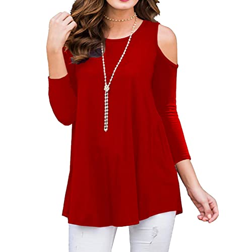 c3a12c95dbb BLUETIME Womens 3 4 Sleeve Cold Shoulder Tunic Top for Leggings Tunics  Blouse Shirt
