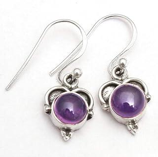 Orecchini pendenti piccoli in argento sterling con pietre preziose ametiste per donne e ragazze, orecchini con castone e o...
