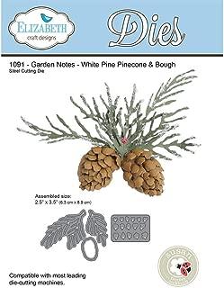 Elizabeth Craft Designs 1091 Metal Die, Garden Notes White Pine Boughs & Pinecone, Grey