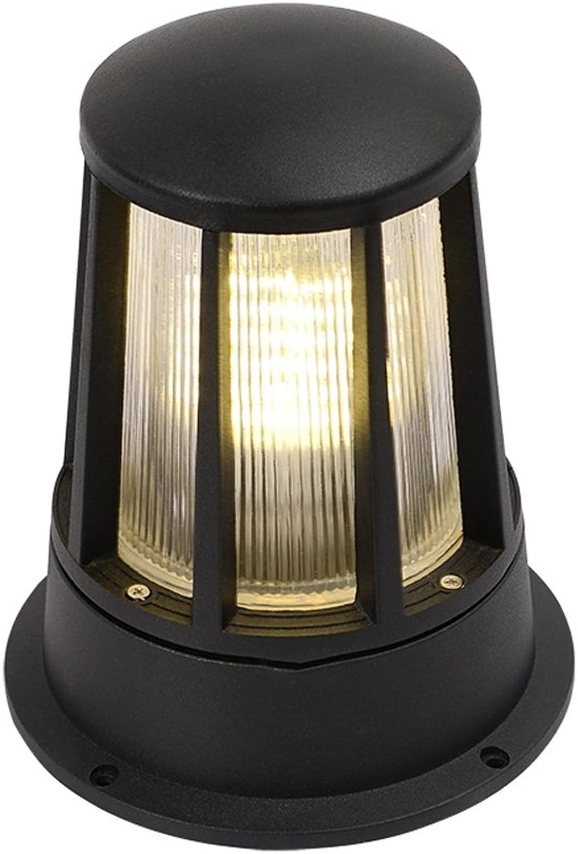 Pointhx Europischen Stil Einfachheit Outdoor Schwarz Metall Post Lichter Wasserdichte Glas Spalte Lampe Hof Villa Wand Sule Lampe Terrasse Rasen Lichter Pfad licht (Farbe   Round)