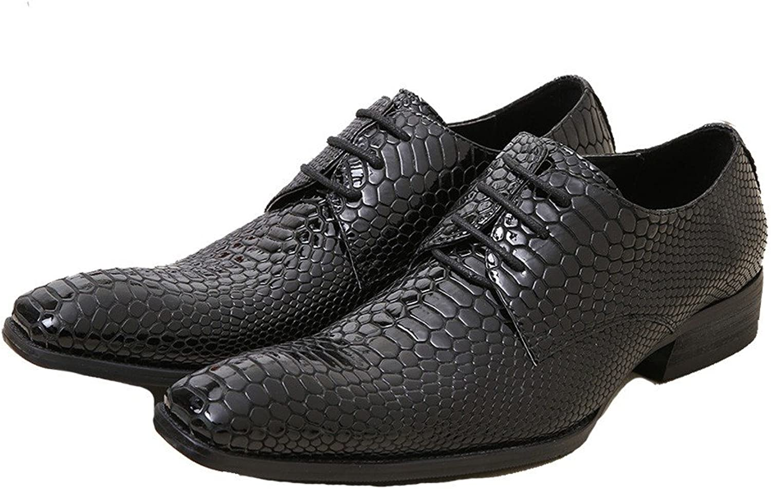 Cover Plus Size 5-11 New Black Alligator Print Genuine Leather Dress Oxfords Mens shoes