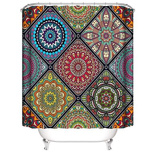 LLLTONG Duschvorhang Mehltau Kirschblüte Kirsche Duschvorhang, waschbarer dekorativer Duschvorhang, wasserdicht Klassisches ethnisches Muster