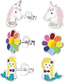 925 Sterling Silver Set of 3 Pairs Rainbow Flower, Mermaid, Unicorn Stud Earrings for Girls (Nickel Free)
