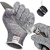 BOZXYE 1 Pairs Upgrade Cut Resistant Gloves, Food Grade 5 Premium Cooking Gloves with Touch Screen, Safety Work Gloves Gardening Oyster Shucking, Fishing, Wood Carving, Include Mini Sharpener