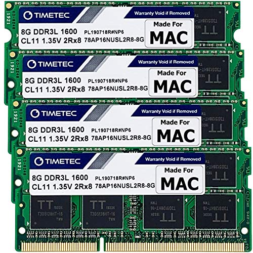 Timetec Hynix IC 32GB KIT(4x8GB) Compatible for Apple DDR3L 1600MHz PC3L-12800 for iMac (Mid 2011, Late 2012, Late 2013, Late 2014 Retina 5K, Mid 2015 Retina 5K) SODIMM Memory Upgrade |MAX RAM Upgrade