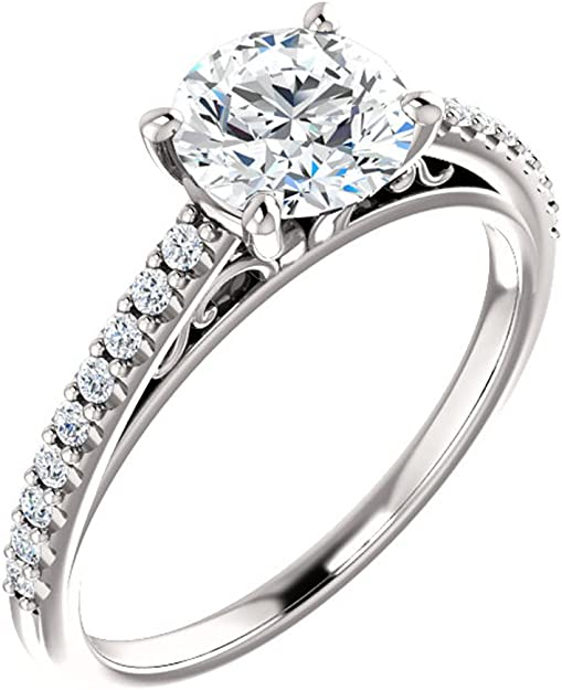 14k Yellow Gold Cathedral Forever ONE square princess cut moissanite solitaire engagement ring 4 prong dome ring