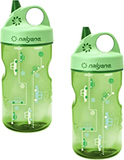 Nalgene Grip-n-Gulp Everyday Kids 12oz Water Bottle - 2 Pack (Spring Green Cars)