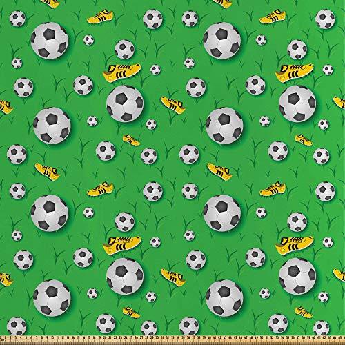 ABAKUHAUS Fútbol Tela por Metro, Zapatos Bolas En Hierba, Satén para Textiles del Hogar y Manualidades, 1M (148x100cm), Cal Negro Amarillo Verde