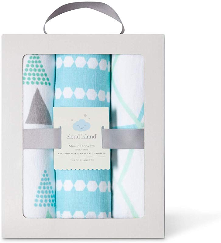 Cotton Geo Bright Muslin Swaddle Blankets 3 Pack By Cloud Island Turquoise