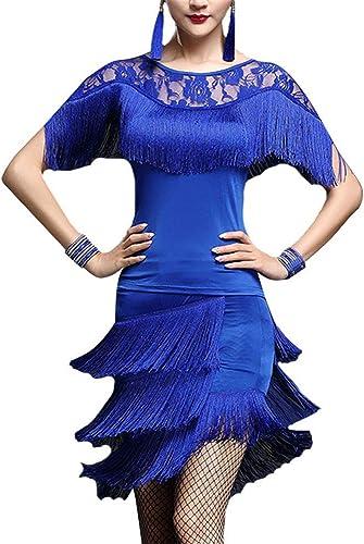 Robe de danse femme Femmes Glands Tango Rumba Robe De Danse Latine Outfit Haut à Manches Chauve-Souris En Dentelle Avec Jupe Danse Formation Pratique Robe Costume De Spectacle Robe de danse