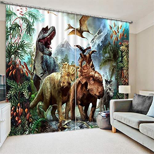 Personalizar Cortina De Ventana 3D con Estampado De Dinosaurio, Apagón De Lujo para Sala De Estar, Cortinas De Dormitorio para Niños, Decoración del Hogar (Ancho) 200 × (Alto) 220cm