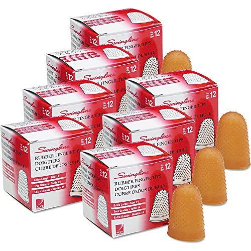 Rubber Finger Tips, Size 14, X-Large, Amber, 1/Dozen, Sold as 1 Dozen, 7PACK , Total 7 Dozen