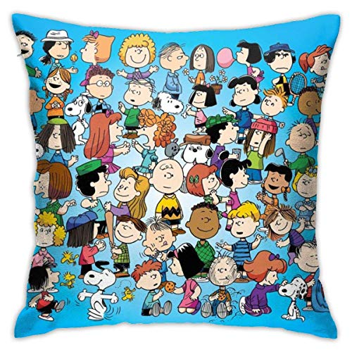 Throw Pillow Case Dibujos Animados De Cacahuetes Snoppy Tirar Almohada Cojin Moda Funda De Almohada para Cojín Durable Fundas De Almohada para Oficina Sofá Cama 45X45Cm