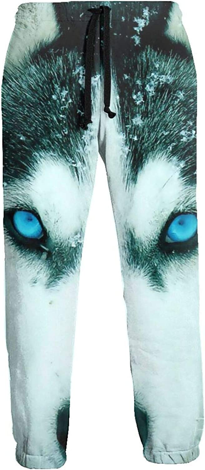 Mens Jogger Sweatpants Blue Eyes Wolf Lightweight Workout Athletic Joggers Pants Trousers