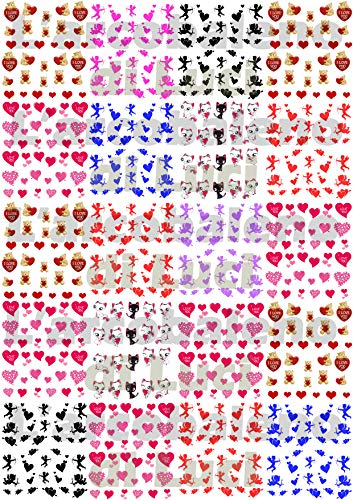 AWS Super Stock 20 feuillets Water Decal Saint-Valentin cœurs Amour Plus 650 Decal Twenty Sheets Red Hearts Angels Nail Art pour Ongles Stickers Autocollant Eros Ours i Love Chaton Valentine's Day