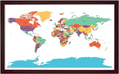 999Store Printed Blue World Map Painting Wall Art with Brown Frame (Canvas_18X30 Inches_Multi) BRFLP18300265