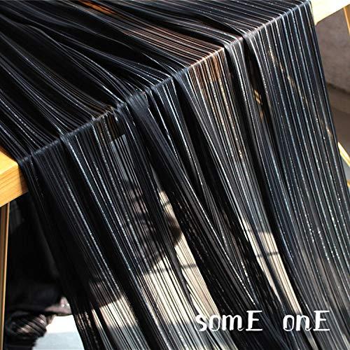 Meterware als Dekostoff- Schwarz Silber Seidenchiffon Durchscheinenden Stoff Spitzenkleid Mode Stoff, (0,5 M)