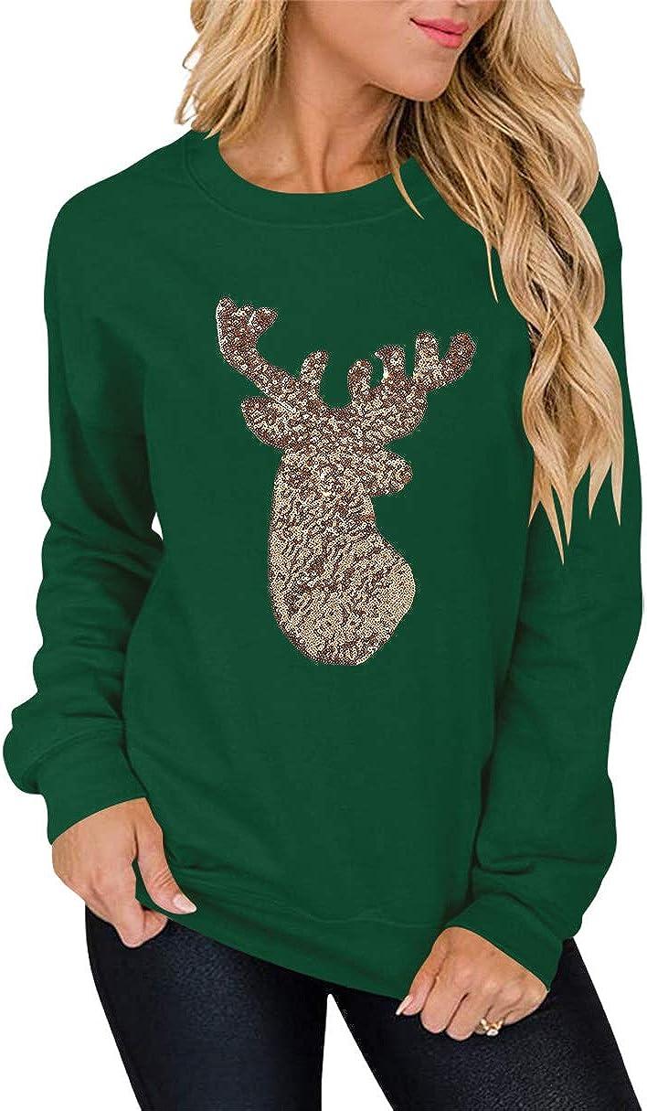 AMABMB Womens Christmas Pullover Sweatshirt Funny Christmas Long Sleeve Round-Neck Print Splicing Sweatshirt Tops