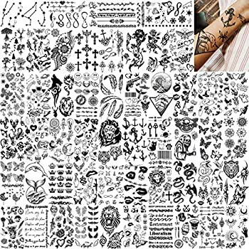 EGMBGM 52 Sheets Tiny Small Temporary Tattoos For Kids Boys Girls Tribal Animals Butterfly Anchor Compass Tattoo Stickers For Men Women 3D Cute Flower Fake Face Tatoo Kits Sets For Neck Arm Hands