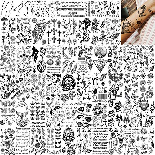 EGMBGM 52 Sheets Tiny Small Temporary Tattoos For Kids Boys Girls, Tribal Animals Butterfly Anchor Compass Tattoo Stickers For Men Women, 3D Cute Flower Fake Face Tatoo Kits Sets For Neck Arm Hands