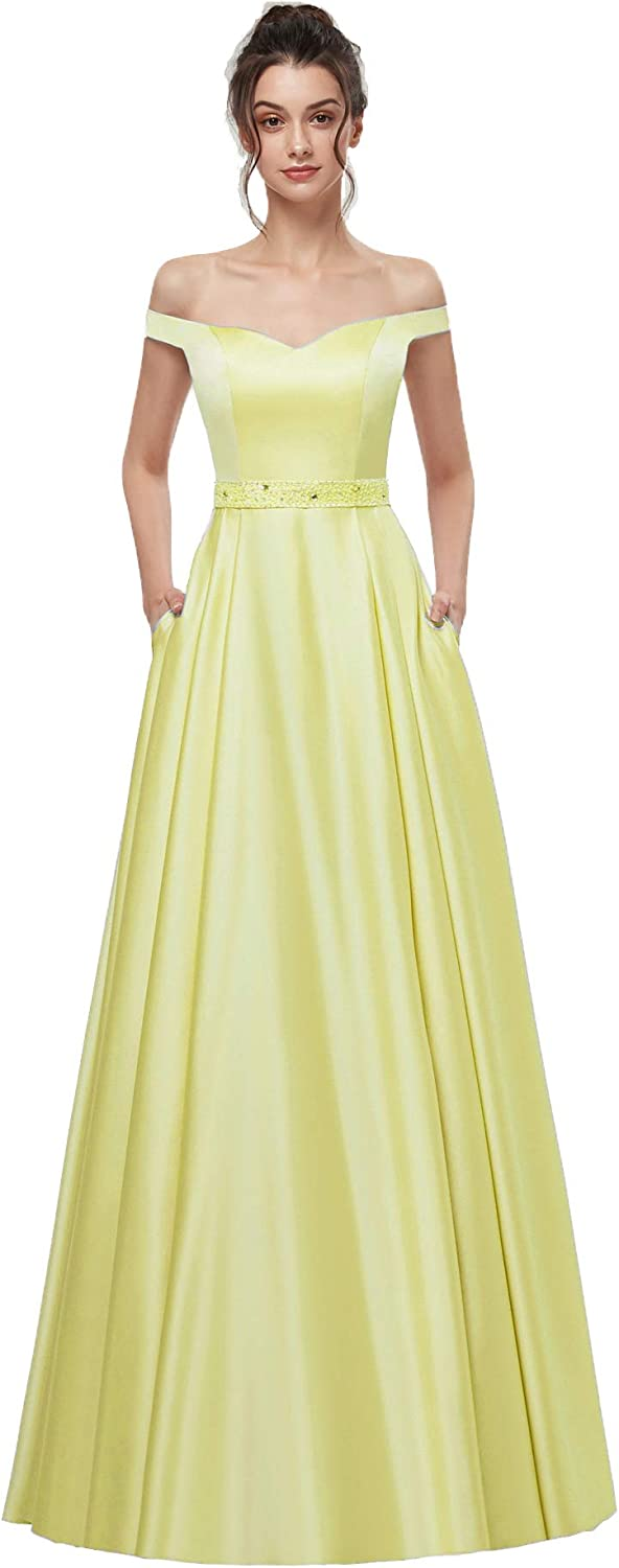 AnnaBride Women's Long OffShoudler Beaded Formal Prom Dresses Pockets Evening Celebrity Party Gowns Yellow 16