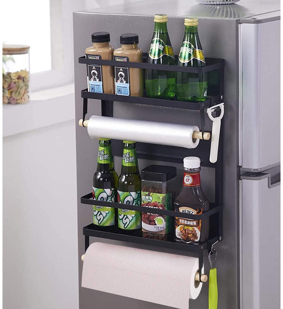 Magnetic Fridge Organizer, Magnetic Spice Rack with Paper Towel Holder and  20 Mobile Hooks, 20 Tier Magnetic Refrigerator Shelf in Kitchen Holds up to  ...