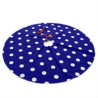 UYRHFS White Blue Dots Polka Hexagon Navy Christmas Tree Skirt 36 Inch Christmas Decoration New Year Party Supplies