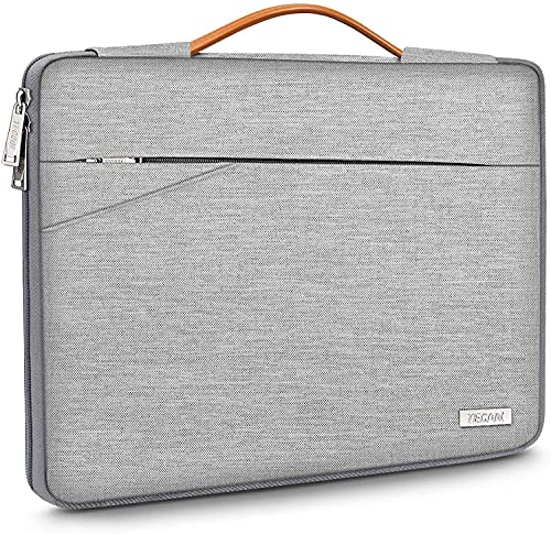 TECOOL 14 Inch Laptop Sleeve Protective Case Cover with Handle and Pockets for 14 Inch HP Lenovo Thinkpad Ideapad Dell Acer ASUS Chromebook Notebook Water-resistant Computer Bag, Grey