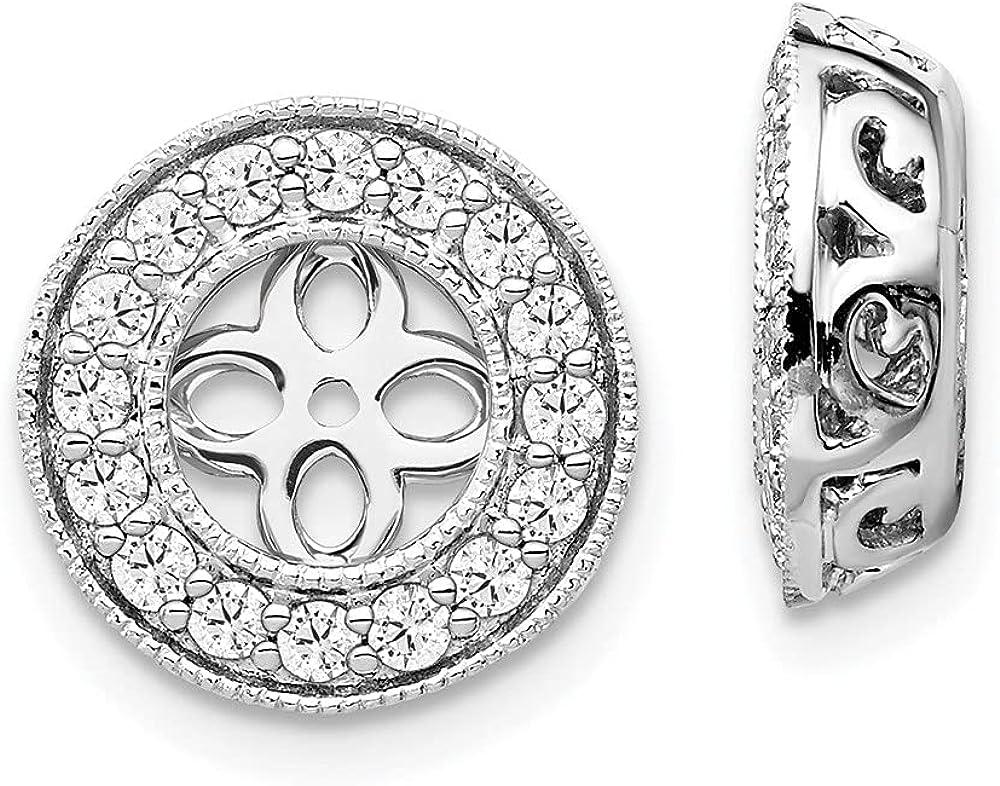 14k White Gold True Origin Lab-Grown Diamond Earrings Jackets, (Clarity- VS, Color- E, 0.45 cttw)