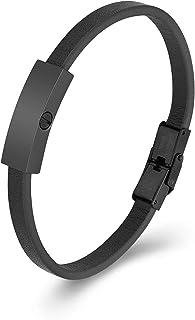 DSBC364-BLK Black /& White F*uck Leather Wristband Cuff Bracelet 2-12 Wide