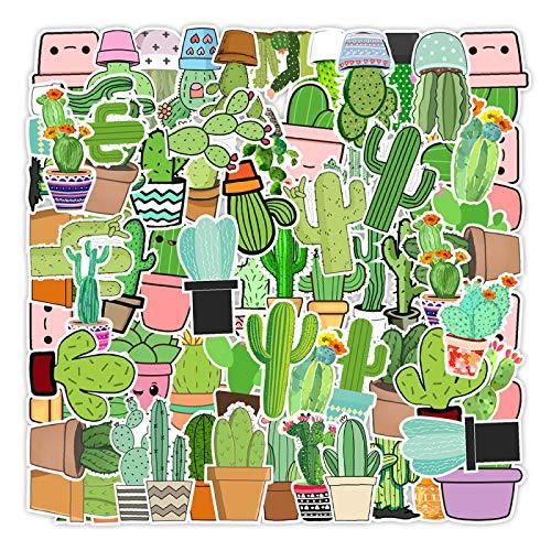 WYZNB 50 unids Pequeño Cactus Fresco Pegatina Scooter Coche Maleta Decoración Pvc Impermeable Etiqueta Niño Niña Creativo Diy Regalo