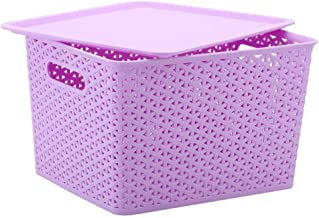 Laundry Basket Large Big Plastic Storage Clear Box Strong Stackable Container (Color : Purple, Size : Medium)