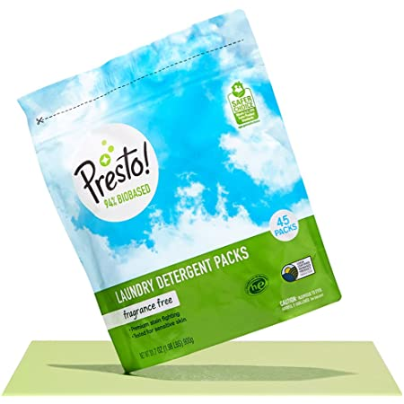 Amazon Brand - Presto! 94% Biobased Laundry Detergent Packs, Hypoallergenic and Fragrance Free, 90 Loads, 45 Count (Pack of 2)