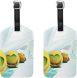 MOUUOM Smiley Tennis Balls Luggage Tages Travel Labels Suitcase Bag Tag with Name Address Cards Travel 2 Pcs Set