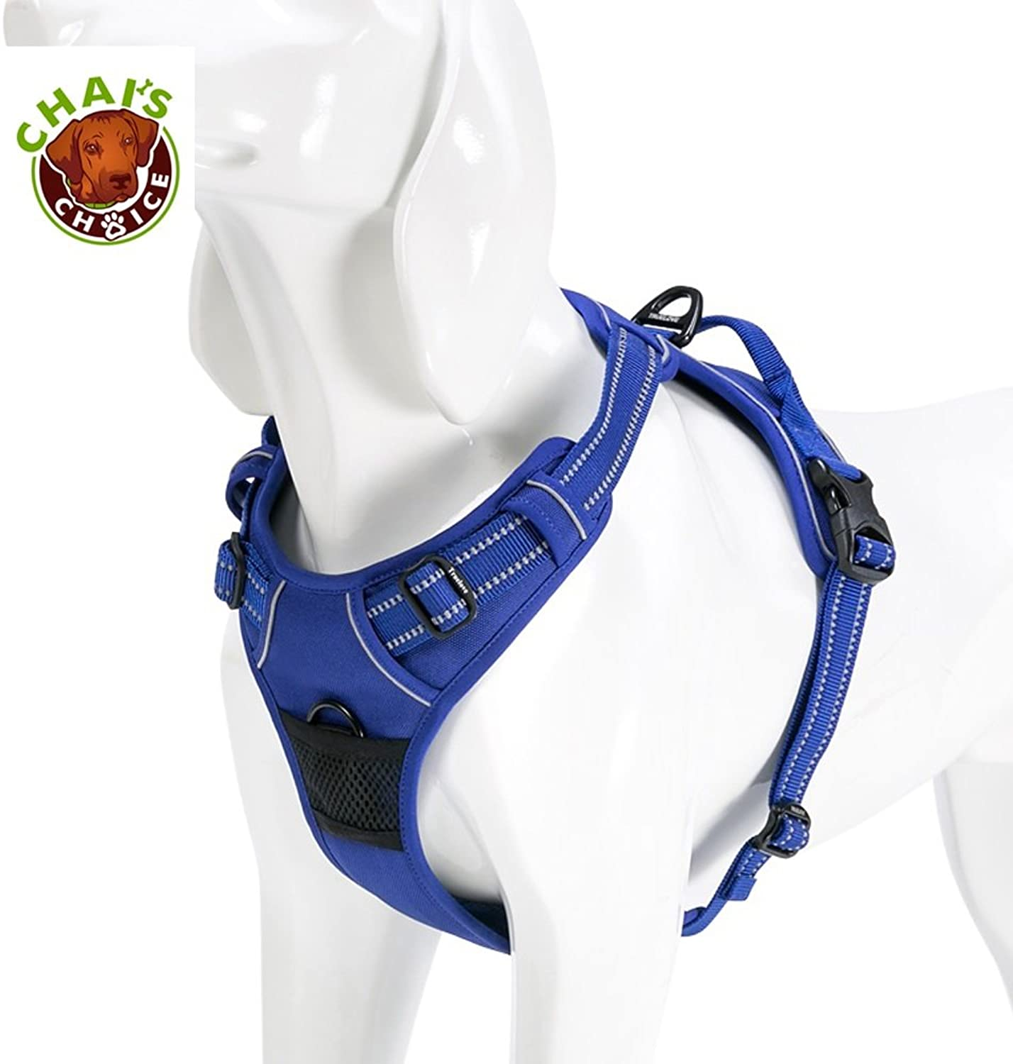 Chai's Choice Best Outdoor Adventure No Pull Dog Harness. 3M Reflective Vest with Handle and Two Leash Attachments.Caution Please Use Sizing Chart at Left Before Ordering  (XLarge, Royal bluee)