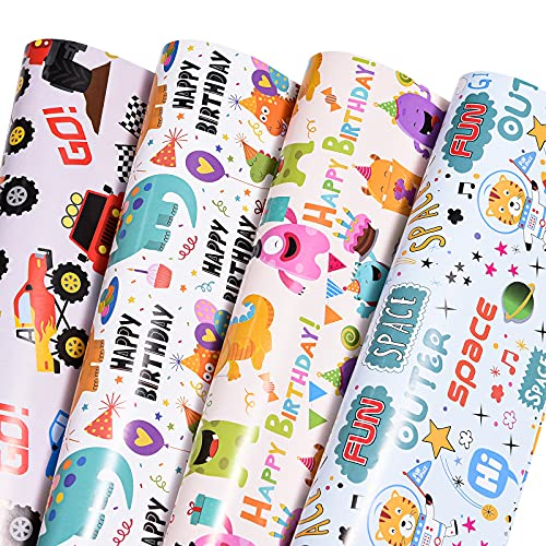 Birthday Wrapping Paper for Boys,Baby,Kids.Gift Wrapping Paper Includes...