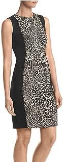 Women's Leopard-Print Panel Sheath Dress, Black/Khaki, Size 6