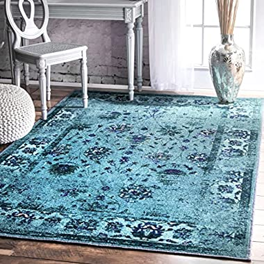 nuLOOM Traditional Vintage Inspired Overdyed Floral Rug,  5' x 8'