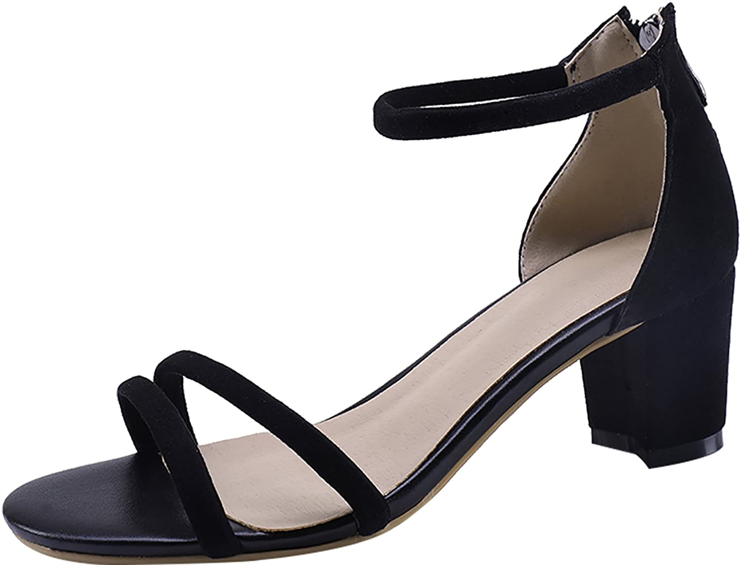 Calaier Womens Salac Open-Toe 6CM Block Heel Zipper Sandals shoes