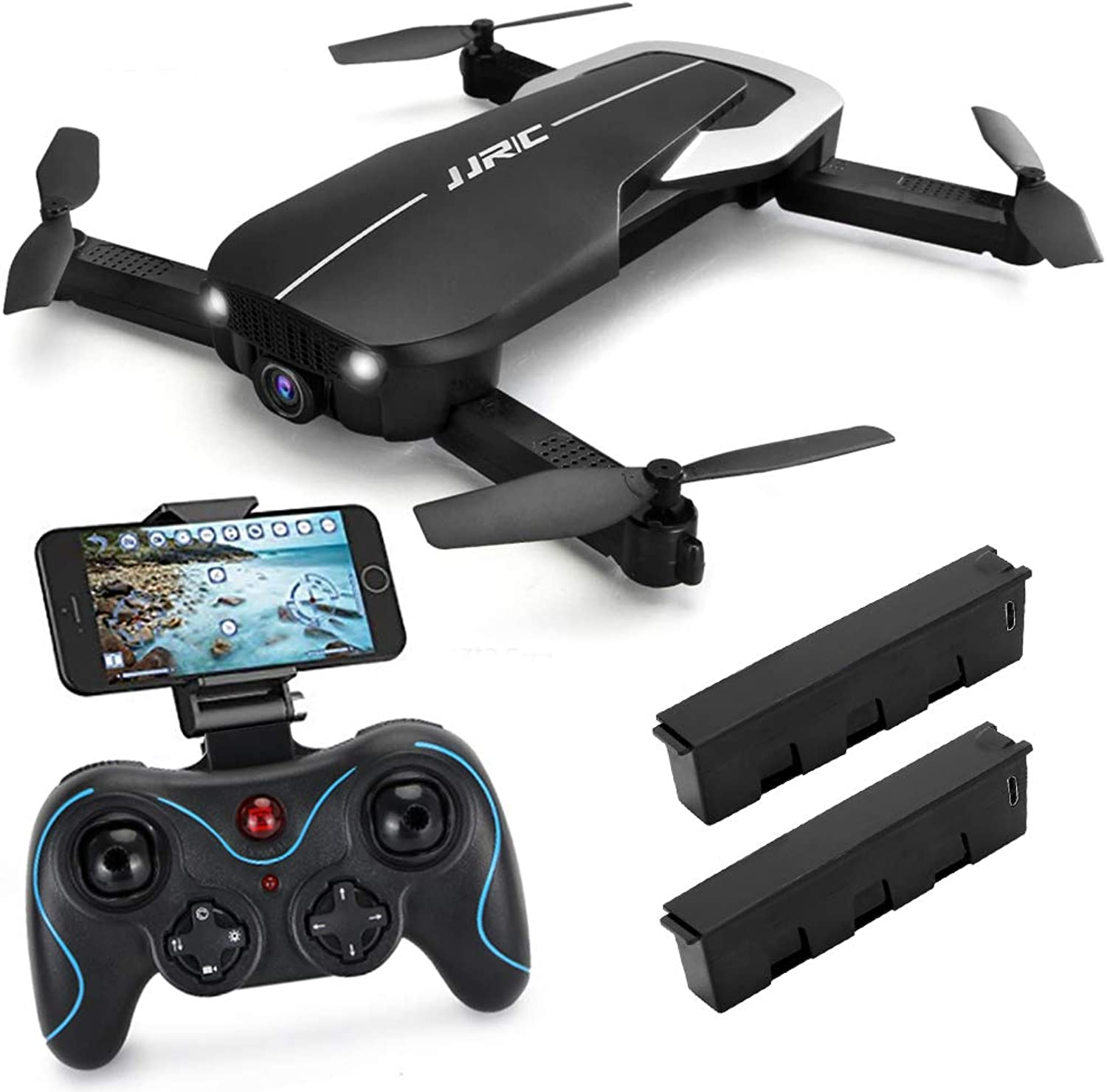 JJRC H71 FPV Drone with 1080p HD WiFi Camera Live Video Feed 2.4GHz 6Axis Gyro RC Quadcopter for Kids & Beginners, Optical Flow Position Altitude Hold, One Key Start, Foldable Arms, Black