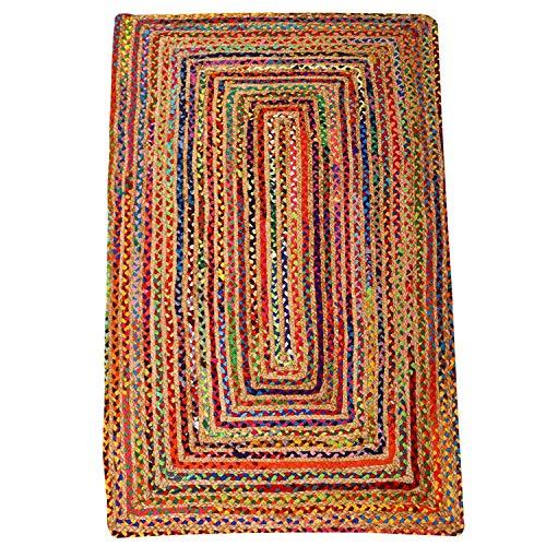 Casa Moro Alfombra de yute Esha multicolor, 80 x 150 cm, rectangular, estilo bohemio, de fibra natural y algodón, tejida a mano, trenzada y cosida, para una vivienda bonita, MA5610