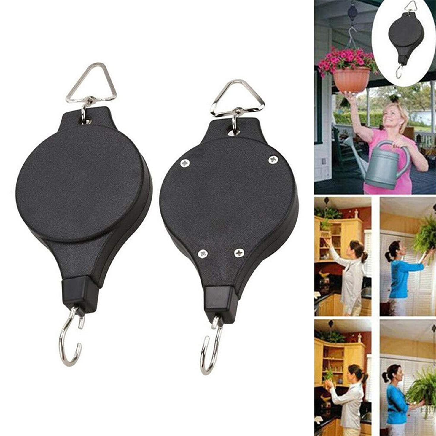 ??Ywoow?? Basket Hooks, Retractable Pulley Hook Hanging Pull Down Hanger for Flower Plant Baskets Garden