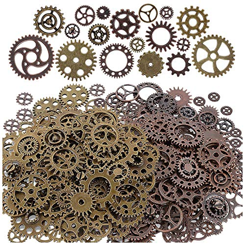 Antique steampunk gear charms Diameter: 10mm-26mm,mixed color alloy metal, Bronze and Copper Perfect for scrapbooking project, necklace pendant drop, jewelry making accessories Great DIY gift for your friends,lovers or yourself to creat unique eye-ca...
