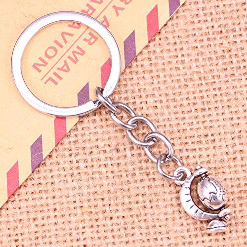 N/ A Mode Schlüsselbund 17x12mm Tellur Globus Anhänger DIY Männer Schmuck Auto Schlüsselanhänger Ringhalter Souvenir für Geschenk