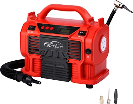Tire Inflator Air Compressor, 12V DC / 110V AC 160PSI Power Tire Pump with Inflation and Deflation Modes with Pressure Gauge LED Light, Long Cable and Auto Shut Off: image
