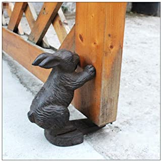 ADPTT-Home Cast Iron Door Stop Vivid Rabbit Door Stopper, Retro Vintage Rustic Cast Iron Animal Door Stopper Holder for Garden Farmhouse Lovely Decorative Finish (Color : Iron, Size : One Size)