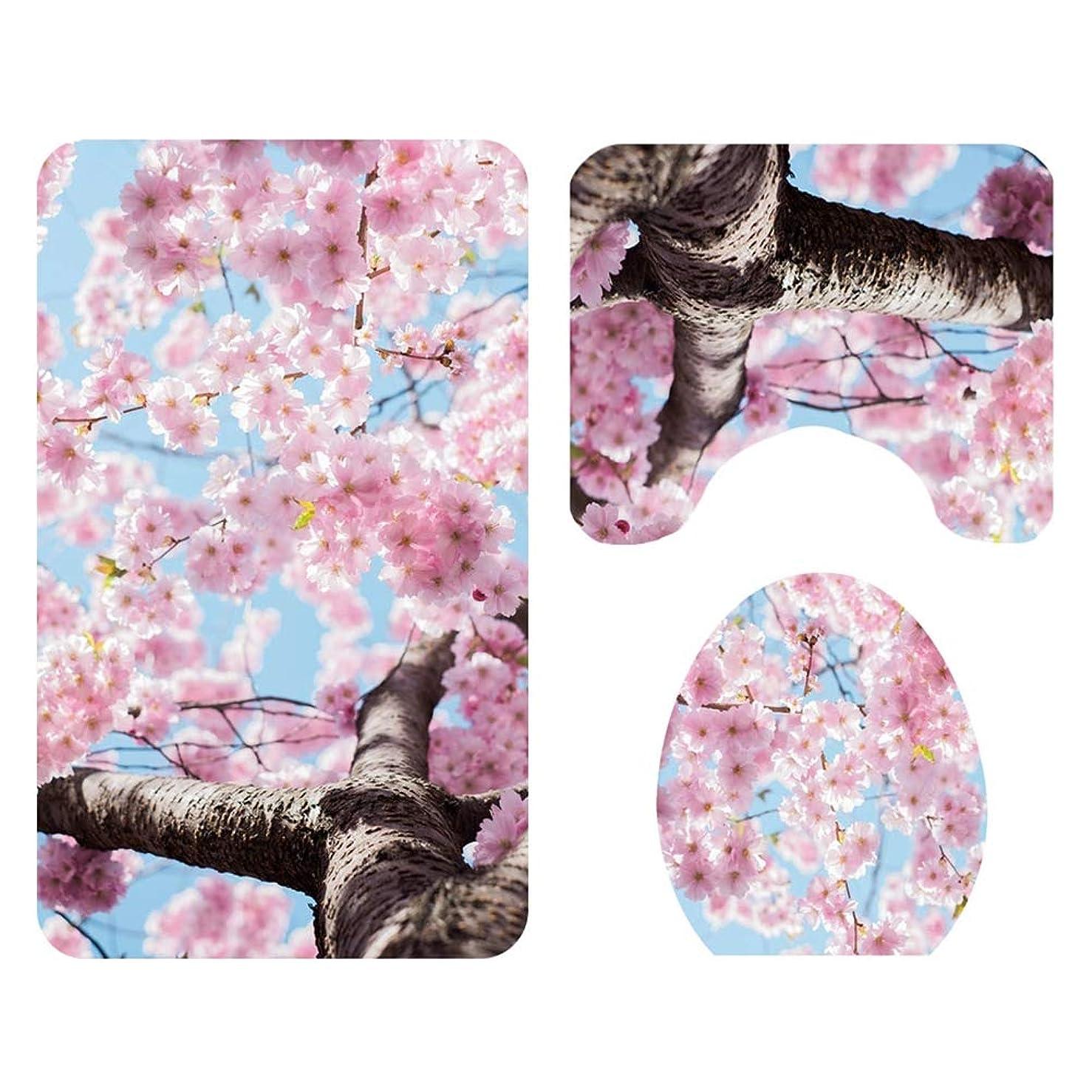 クローゼット必要条件ましいTOPBATHY 3ピース浴室敷物マット付き花柄台座マット滑り止めバスマットトイレ蓋ふたカバートイレ敷物セット